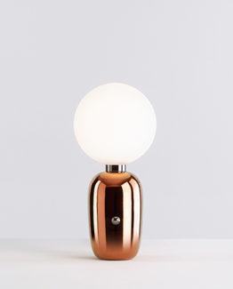 Lámpara de sobremesa. Base de cerámica acabada en blanco, negro o dorado.
